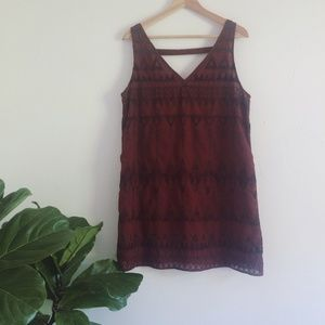 Free People Burgundy Beaded Geometric Mini Dress